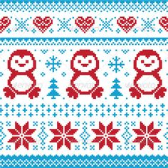 Winter Knitted Pattern with Penguins - Christmas Seasons/Holidays