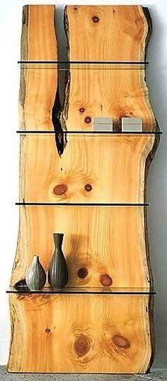 pine slab bookcase