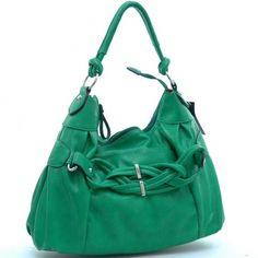 Dasein designer inspired breaded hobo bag with front pocket (Green)