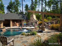 The Perfect Outdoor Retreat: Asheville, N.C. Pool Companies, Rope Swing, Outdoor Retreat, Outdoor Fun, Outdoor Entertaining, Outdoor Ideas, Yard Design, Pool Designs, Pool Houses