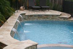 Wet Pools Inc./ Plaster: Wet Edge Luna Quartz, Pacific/ Travertine coping & decking/ June 2013 : Katy, Texas