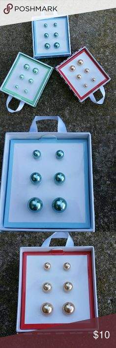 Adorable Pearl Fashion Earrings Each set comes with 3 diff-sized pairs of pearl fashion earrings: sky blue, champagne, & mint. Each set comes in its original box. Plz specify in comments which set u prefer and I'll create a custom listing for u, or inquire if more than 1 set floats your boat. Price is for 1 boxed set. Feel free to ask any Q's! :) Jewelry Earrings