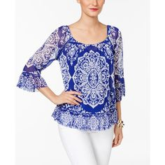 Inc International Concepts Printed Ruffled Peasant Top, ($38) ❤ liked on Polyvore featuring tops, blouses, henna emblem blue, frilly blouse, flutter-sleeve top, ruffle top, inc international concepts tops and flounce blouse
