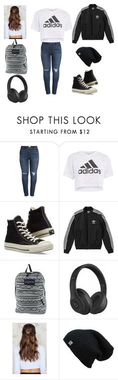 """Casual Outfit"" by alexpdevers on Polyvore featuring Caslon, Topshop, Converse, adidas, JanSport, Beats by Dr. Dre, NA-KD and plus size clothing"