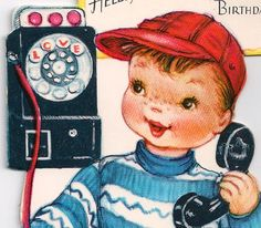 1950s Vintage Little Boy Grandson Birthday Greeting Card with Vintage Rotary Phone