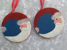 Lot of 2 Handmade Wooden Moon Santa Christmas Tree Ornaments Hand Painted Wood | eBay