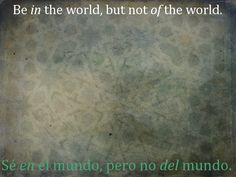 Be IN the world, but not OF the world.