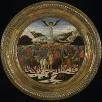 The Medici-Tornabuoni Birth Tray Giovanni di Ser Giovanni, called Lo Scheggia (1406-86) 1449, Florence Wood with gold, silver and tempera paint V - At Home in Renaissance Italy