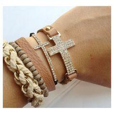 Curved Crystal Cross Black Pull Bracelet