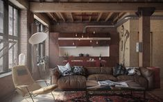This beautiful duplex loft with industrial interior design is decorated by Anna Pliss in Moscow, Russia. Loft is situated in the former textile factory Loft Industrial, Industrial Interior Design, Industrial Interiors, Industrial Apartment, Industrial Living, Industrial Furniture, Industrial Bathroom, Vintage Industrial, White Industrial