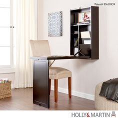 An ideal solution for any room, this painted black writing desk folds away neat and compact. Fold the desk down and you reveal a convenient storage area with two adjustable shelves, bill organizers an