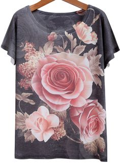 Grey Short Sleeve Rose Print Loose T-Shirt -SheIn(Sheinside)