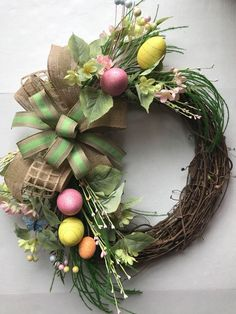 A personal favorite from my Etsy shop https://www.etsy.com/listing/580945774/easter-wreath-spring-wreath-easter-eggs