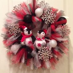 Penguin Christmas wreath with tule and ornaments