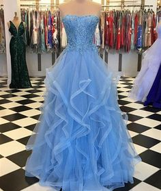 New Arrival Sky Blue Beaded Tulle A Line Long Prom Dresses Off Shoulder Women Party Gowns Custom Made Formal Evening Gowns 2020 Strapless Prom Dresses, Prom Dresses Blue, Formal Dresses, Dress Prom, Pretty Dresses, Pagent Dresses, Reception Dresses, Quinceanera Dresses, Elegant Dresses