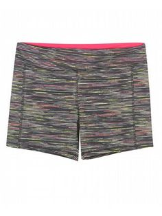 Black Space Dye Shorts $25  #alight #plussize #plussizefashion #plussizeclothing #spring #trend #trendy #cute #shorts #activewear #plussizeactivewear #plussizeshorts #black #pink #spacedye  Fashionable athletic shorts have a bright horizontal stripe pattern and bold contrasting waist. Waist can be worn folded over or straight. Lycra adds just the right amount of stretch. Unlined.