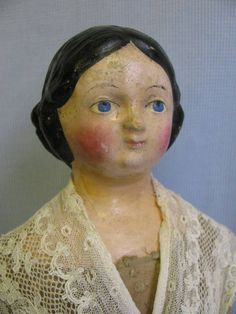 """17 ½"""" Early Papier-Mâché Doll Young Lady c1850 MILLINER'S MODEL All-Original"""