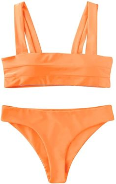 ✦Material: Elastane,Polyamide ✦Solid color,wide strap,padded bikini.Better for smaller chests ✦Two Pieces Bikini Set is perfect for summer, swimwear, beachwear, beach party, pool party, SPA,vacation ✦Garment Care: Hand-wash and Machine washable, Dry Clean ✦S --Fit US Size:4(Bust: 34''-Waist: 27''-Hips:36'')//M --Fit US Size:6(Bust:35''-Waist:28''-Hips:38'')//L --Fit US Size:8(Bust:37''-Waist:30''-Hips: 39.'').Please allow 1-3cm differs due to manual measurement, thanks Women's One Piece Swimsuits, Two Piece Bikini, Women Swimsuits, Business Casual Womens Fashion, Womens Fashion Casual Summer, Fashion Women, Women's Fashion, Bandeau Bikini Set, Bikini Swimwear