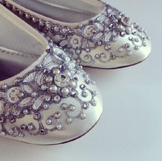 Cinderella's Slipper Bridal Ballet Flats Wedding Shoes - Any Size - Pick your own shoe color and crystal color on Etsy, $245.00