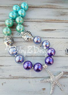 Purple Lavender Silver Aqua and Turquiose Chunky Necklace by babyzdesigns on Etsy, $19.99 Perfect for Under the Sea or Little Mermaid outfits, parties, or photoshoots!