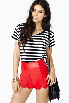 Fever Dream Faux Leather Shorts - Red RED