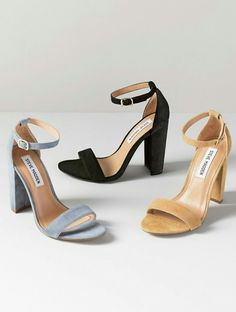 b55458368ba8  Carrson  Sandal By Steve Madden A minimalist ankle-strap sandal set on a  chunky heel is cast in lush suede. Adjustable ankle strap with buckle  closure.