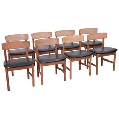 Set of Eight Børge Mogensen Dining Chairs by Fredericia, Denmark, 1950s