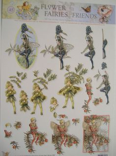 FLOWER FAIRY, TRADITIONAL STYLE, A4 3D STEP-by-STEP DECOUPAGE SHEET,45