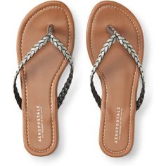 a55d1818ee9fe Aeropostale Braided Glitter Flip-Flop ( 12) ❤ liked on Polyvore featuring  shoes