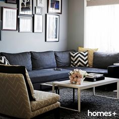 Splashes of and brighten up the shades of Jet and Joey's As featured in the August 2015 issue of homes+. Dark Colors, Bold Colors, Contemporary Style Homes, House And Home Magazine, Interior Inspiration, Modular Couch, Lounge, House Design, Dark Shades