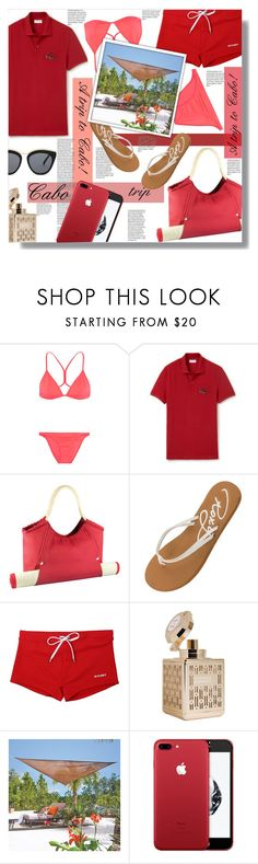 """""""A trip to Cabo! - Contest!"""" by sarahguo ❤ liked on Polyvore featuring Melissa Odabash, Lacoste, Picnic Time, Roxy, 2(x)ist, Improvements and Le Specs"""