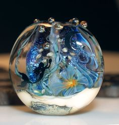 mermaid bead with blue dichroic, handmade glass bead SRA, OOAK, lampwork, artist bead