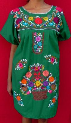 Mexican Green Mini Dress Natural Tunic Vtg by madeintechnicolor, $39.00