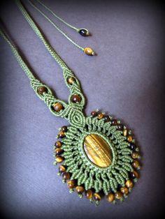 画像5: 自己実現の天然石★大ぶりタイガーアイのハンドメイド手編みネックレス*マクラメ