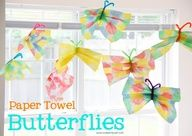 Paper Towel Butterflies- easy to make, fun to play with, and would make adorable decorations/favors for a party or kids room. Keep the potential mess from being stressful by doing this outside, on the grass, or using a big plastic tablecloth!  Kids would love this!