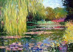 De bloementuin van Monet in Giverny , Famous Landscape Paintings, Famous Art Paintings, Monet Paintings, Landscape Art, Claude Monet, Lily Painting, Painting Flowers, Pond Painting, Drawing Flowers