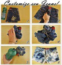 Você vai precisar de :    Elásticos ou barbante  Água sanitária  Shorts Jeans    É só molhar na agua sanitária e ja por pra secar.  ou se deixar de molho no maximo 30 , 20 minutos  O modo de fazer ta na foto, espero que gostem :)