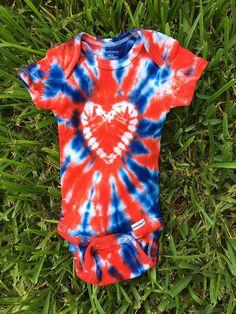 102fd3cb 0-3M, Red and Blue Heart Onesie with sunburst background, handmade tie dye, infant  tie dye, baby tie dye, girls tie dye, handmade, patriotic