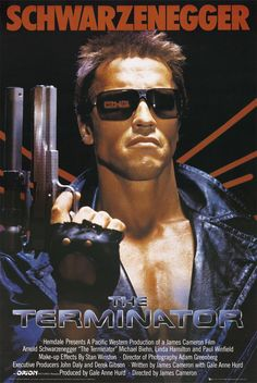 The Terminator (1984 science fiction action film, directed by James Cameron and starring Arnold Schwarzenegger, Michael Biehn and Linda Hamilton)