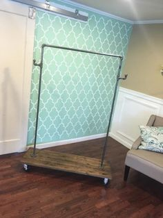 Diy clothes rack DIY Clothing Rack 30 minute project House-Painting Tips Seasons wreak havoc on a ho Rolling Clothes Rack, Pipe Clothes Rack, Rolling Rack, Clothes Storage, Industrial Clothes Racks, Diy Clothes Rack Cheap, Clothes Rod, Hanging Clothes, Industrial Pipe