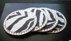 ZEBRA PRINT & BLING Coasters  Set of 4  w/ by LaurieBCreations, $18.00