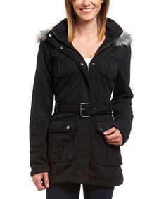 Love this Urban Republic Black Faux Fur Hooded Fleece Jacket by Urban Republic on #zulily! #zulilyfinds