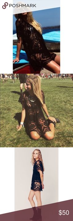 La Sirena Tunic Jen's Pirate Booty Small Black Perfect for festival season! I wore it to Coachella last year (pictured) and got SO many compliments!! Made by Jen's Pirate Booty and all handmade lace. Great quality only worn once! #festival #coachella #lace Jen's Pirate Booty Dresses Mini