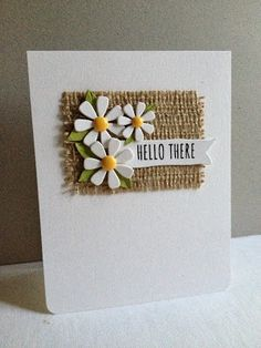 Fall Daisies card by Lisa A. Lovely contrast of colour and textures used in this simple design gives it interest. Handmade Birthday Cards, Greeting Cards Handmade, Burlap Card, Tarjetas Diy, Card Making Inspiration, Card Tags, Paper Cards, Flower Cards, Creative Cards