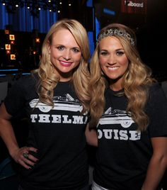 MIRANDA LAMBERT and CARRIE UNDERWOOD at the BILLBOARD MUSIC AWARDS rehearsals in their JUNK GYPSY Thelma & LouIse tees . . {junk gypsy co}