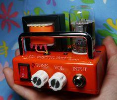 市販DC-DCモジュール基板利用で、手軽に小型アンプ制作 DIY Palm-sized vacuum Tube Guitar Amplifier Head