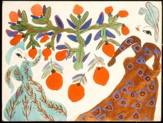 Baya,Femmes et orangers fond blanc, 1947