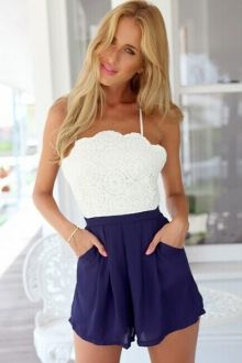 Spaghetti Strap Lace Splicing Romper