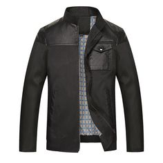 Sale 17% (62.56$) - Plus Size Mens Shoulder PU Leather Stitching Stand Collar Casual Slim Fit Business Jacket