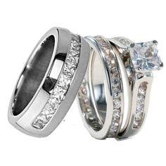 His and Hers Titanium Wedding Bands | His Hers 3 pcs Mens Womens Titanium Cubic Zirconia Wedding Ring Set